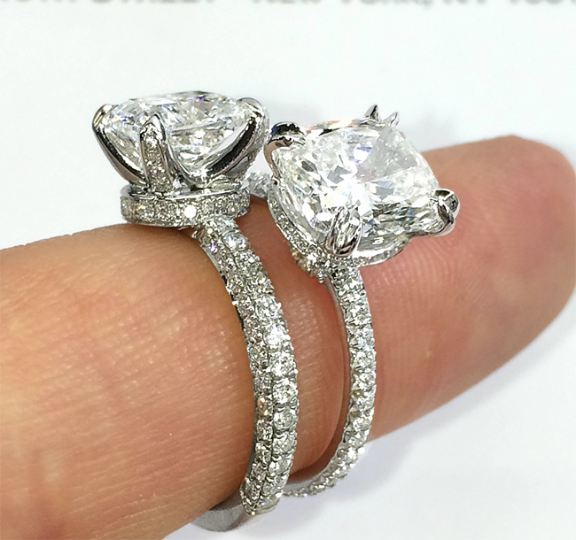 Engagement Ring Vs Wedding Ring What Do You Think Of The Three Row Pave Bands Vs The Single Row