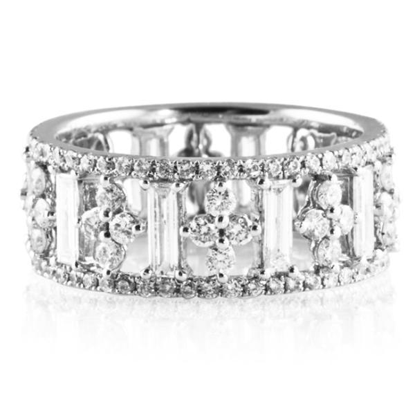 2 25 Ct Diamond 18k White Gold Eternity Wedding Band Ring
