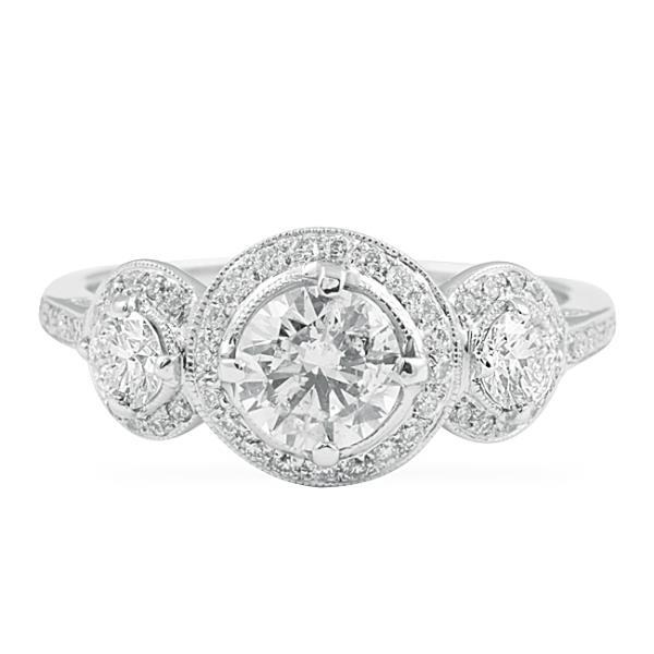 Engagement Rings York: Three Stone Halo Engagement Rings New York