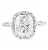 3.05 CT CUSHION CUT DIAMOND PLATINUM ENGAGEMENT RING