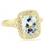 LEPOZZI AQUAMARINE AND DIAMOND YELLOW GOLD RING