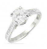 LEPOZZI 1.53 CT CUSHION CUT PLATINUM RING