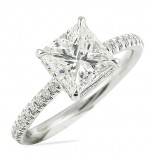1.63 CT PRINCESS CUT DIAMOND WHITE GOLD ENGAGEMENT RING