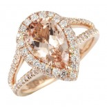 LEPOZZI PEAR SHAPE MORGANITE ROSE GOLD RING