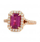 PINK SAPPHIRE EMERALD CUT ROSE GOLD RING