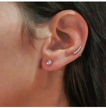 Bezel Set Diamond Studs with Pave Edge