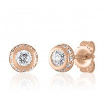 Bezel Set Diamond Studs with Pave Edge
