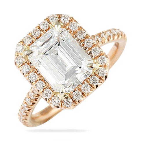 Moissanite Emerald Cut Rose Gold Ring