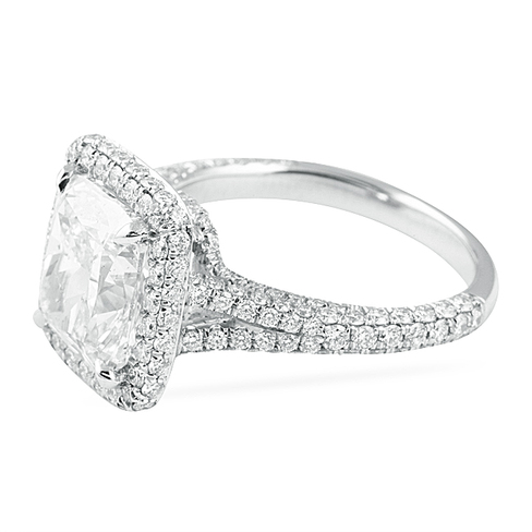 4 02 Ct Cushion Cut Platinum Engagement Ring