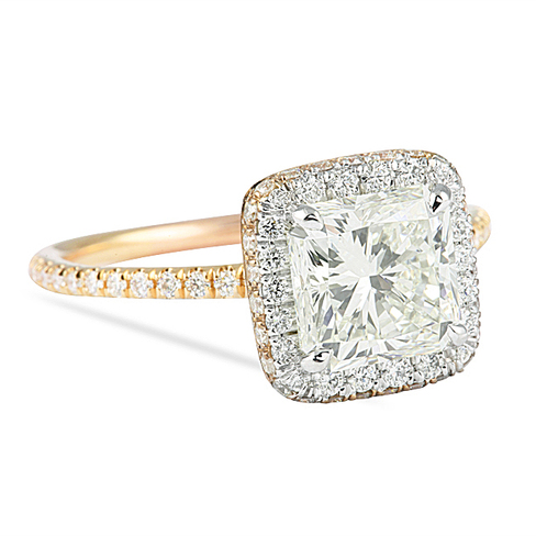 1 50 Ct Radiant Cut Two Tone Engagement Ring
