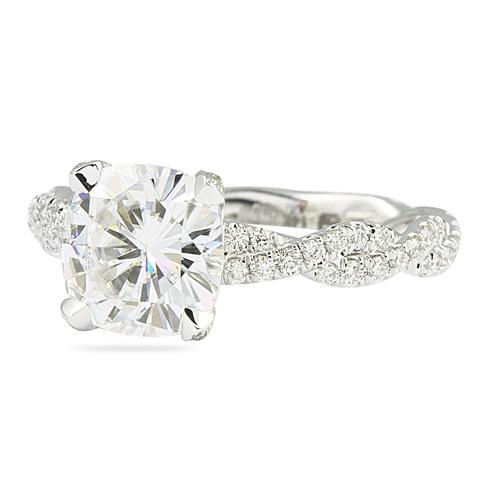 moissanite cushion white gold engagement ring