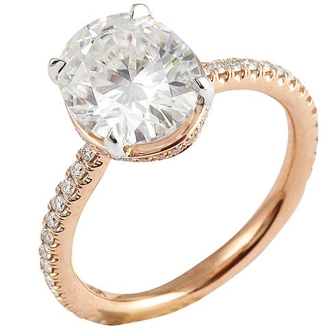 moissanite oval rose gold engagement ring