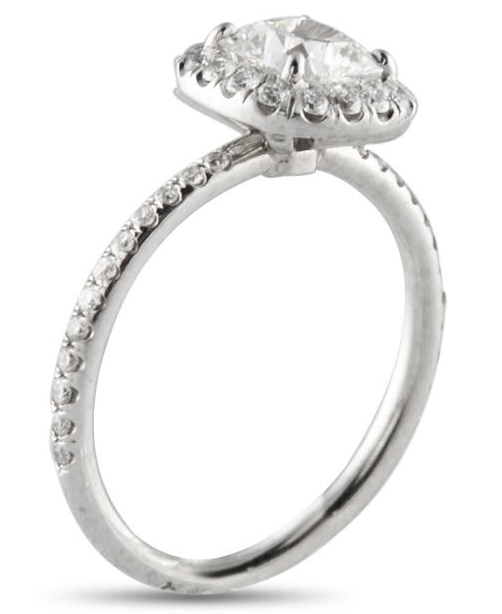 Micro Pave Custom Engagement Ring Cushion Cut Halo Style
