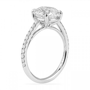Round Diamond Cathedral Pave Engagement Ring Style