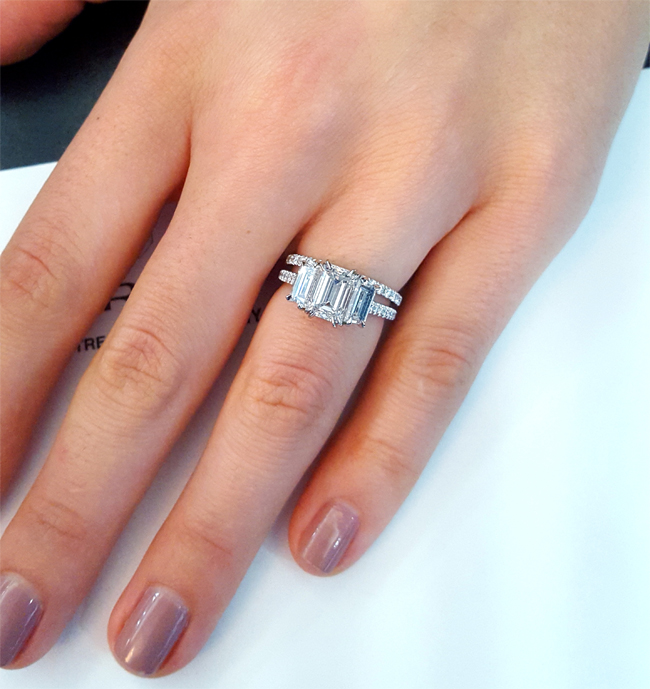 three stone emerald cut engagement ring with thin pave eternity band - Three Band Wedding Ring