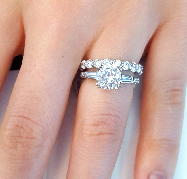 round with tapered baguette three stone engagement ring paired with round eternity band - Wedding Bands And Engagement Rings