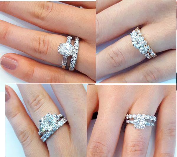 Tips for pairing your three stone engagement ring with a for Wedding band to go with halo ring