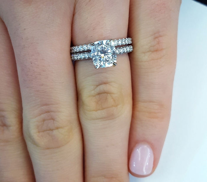 Three Row Engagement Ring With Single Pave Eternity Band