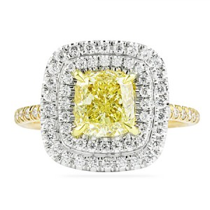 cushion cut yellow diamond in double halo custom ring