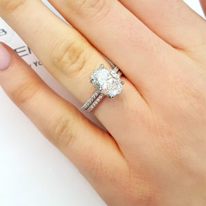 As An Alternative Look At The Same Platinum Oval Diamond Ring