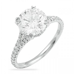 round diamond engagement ring with small split band