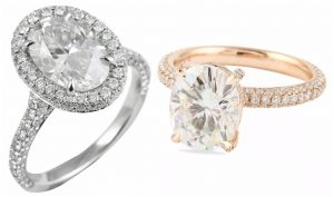 white gold oval diamond pave halo engagement ring and oval moissanite pave rose gold engagement ring