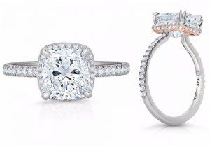 Hidden Halo Cushion Diamond Ring Lauren B Jewelry