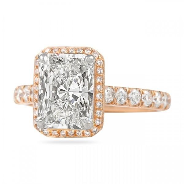 Radiant shape Diamond Rose Gold Hidden Halo Engagement Ring