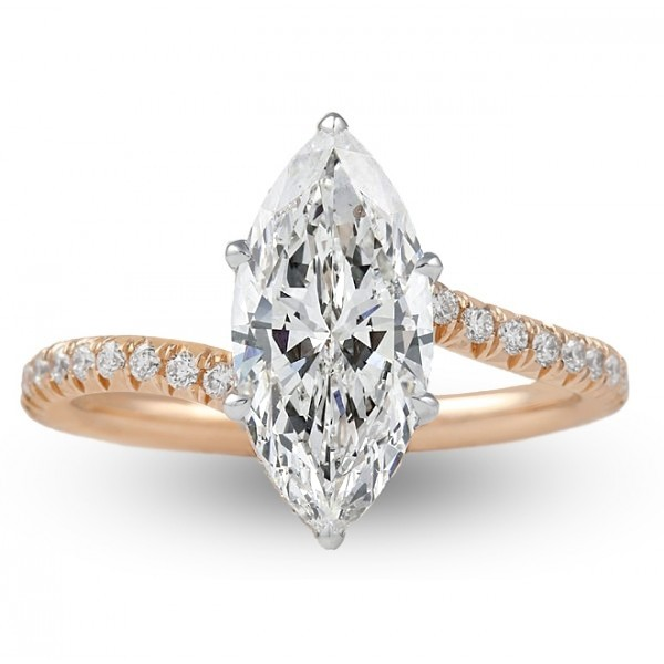 Marquise Cut Diamond Rose Gold Swoop Design Engagement Ring