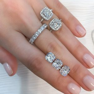 diamond selection on a ladies hand with jewelry