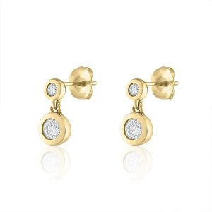 Diamond Bezel Drop Earrings gift