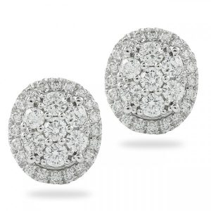 Oval Shape Diamond Cluster Earrings gift