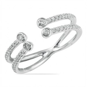 white gold 0.30 CT Round Diamond Open Split Ring gift