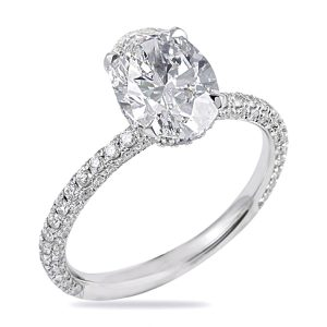 RS-292 Oval Diamond Engagement Ring White Gold Three Row Pave Diamond Band