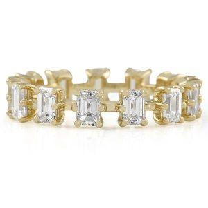 emerald snowflake eternity diamond wedding band ring