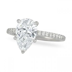 pear shape diamond pave band engagement ring