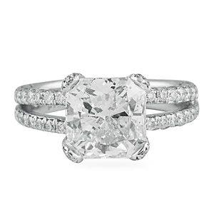 4.02 carat radiant cut diamond platinum engagement ring split pave diamonds band