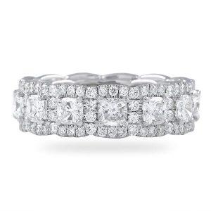 cushion diamond halo eternity band 14 karat white gold