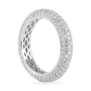2.00 Carat Round Diamond Five-Row Pave Eternity Band side view