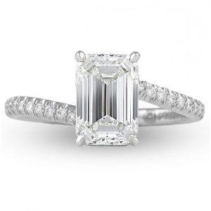 1.92 carat emerald cut diamond platinum swoop design engagement ring