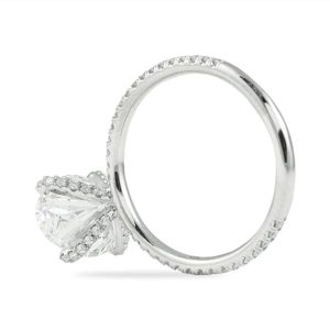 3.24 carat oval diamond pave prong engagement ring white gold