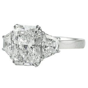 2.60 carat radiant cut diamond three stone engagement ring wide trapezoid cut side diamonds
