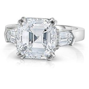 5.0 carat asscher cut diamond three stone bullet sides engagement ring design