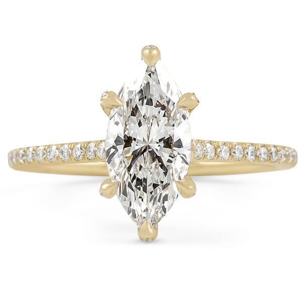 marquise shape diamond six prong pave band engagement ring