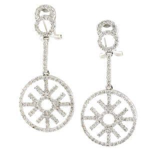 snowflake diamond dangle earrings white gold