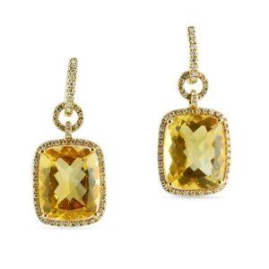 citrine and diamond halo earrings dangle