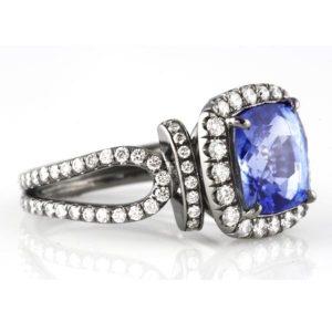 sapphire diamond halo black rhodium engagement ring