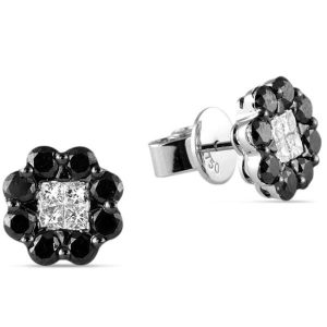 white and black diamond cluster style earrings