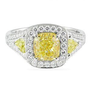 Yellow Diamond Platinum Engagement Ring