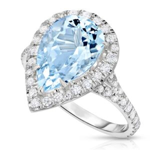 diamond halo aquamarine engagement ring